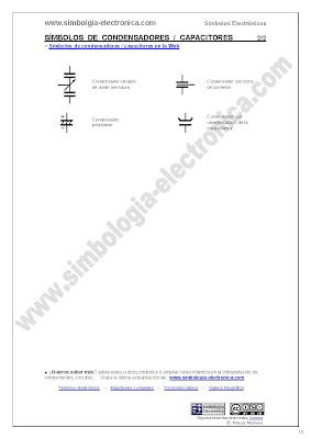 Símbolos de condensadores eléctricos,  capacitores 2/2