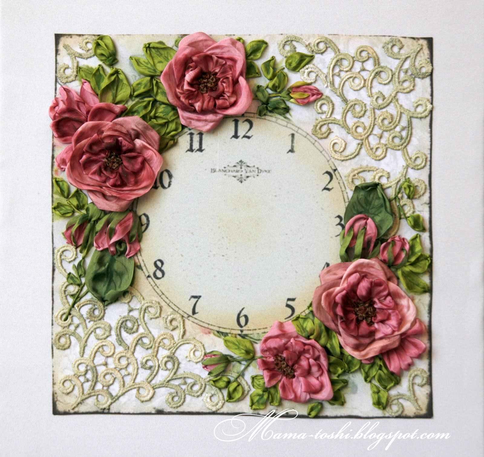 Вышивка в часах розы