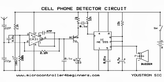 Cell Phone Detector Project Circuit Diagram on simple electronic project circuits for final year engineering s
