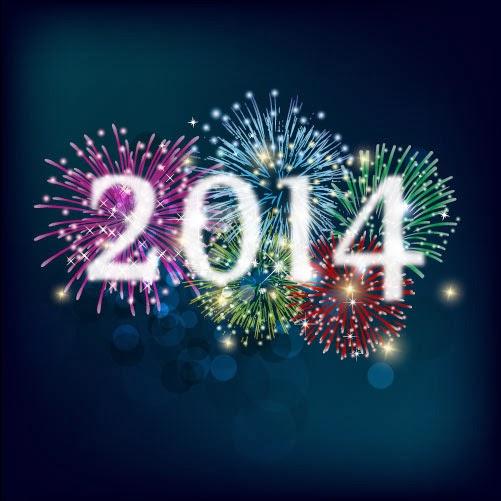 Fondo 2014 con fuegos artificiales - Vector