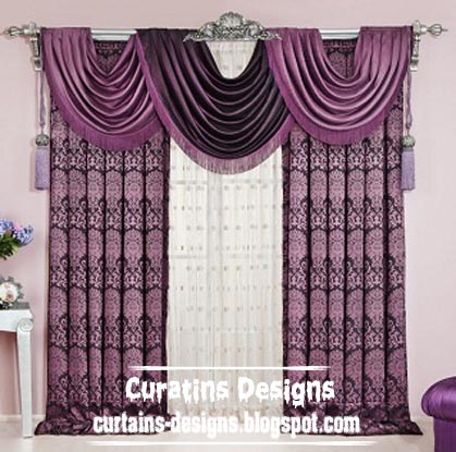 Luxury American Purple Drapes Curtain For Bedroom