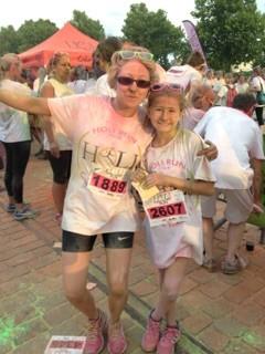sophie et lisa camard a la holi run(course des couleurs) a rouen