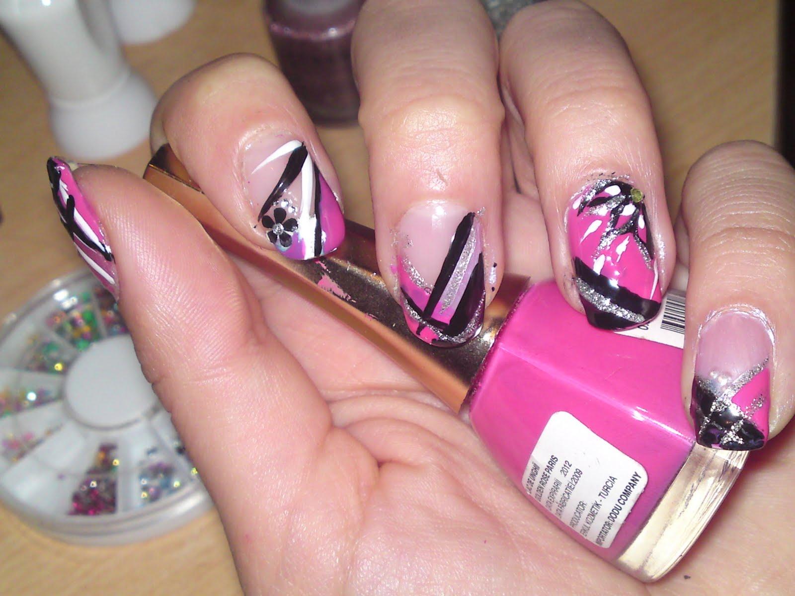 Hot Pink And Black Nail Designs – ledufa.com