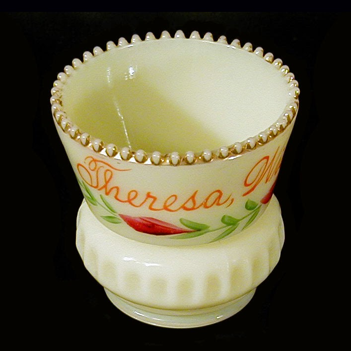 Antique Custard Punty BandToothpick Holder, Heisey