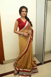 Manasa Gorgeous Beauty in Red Blouse Brown Designer Saree at Rowdy Fellow Music Launch