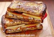 resep praktis dan mudah membuat (memasak) breakfast cheesy French toast spesial khas eropa enak, gurih, lezat