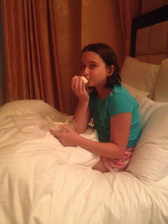eating cheesecake in bed.