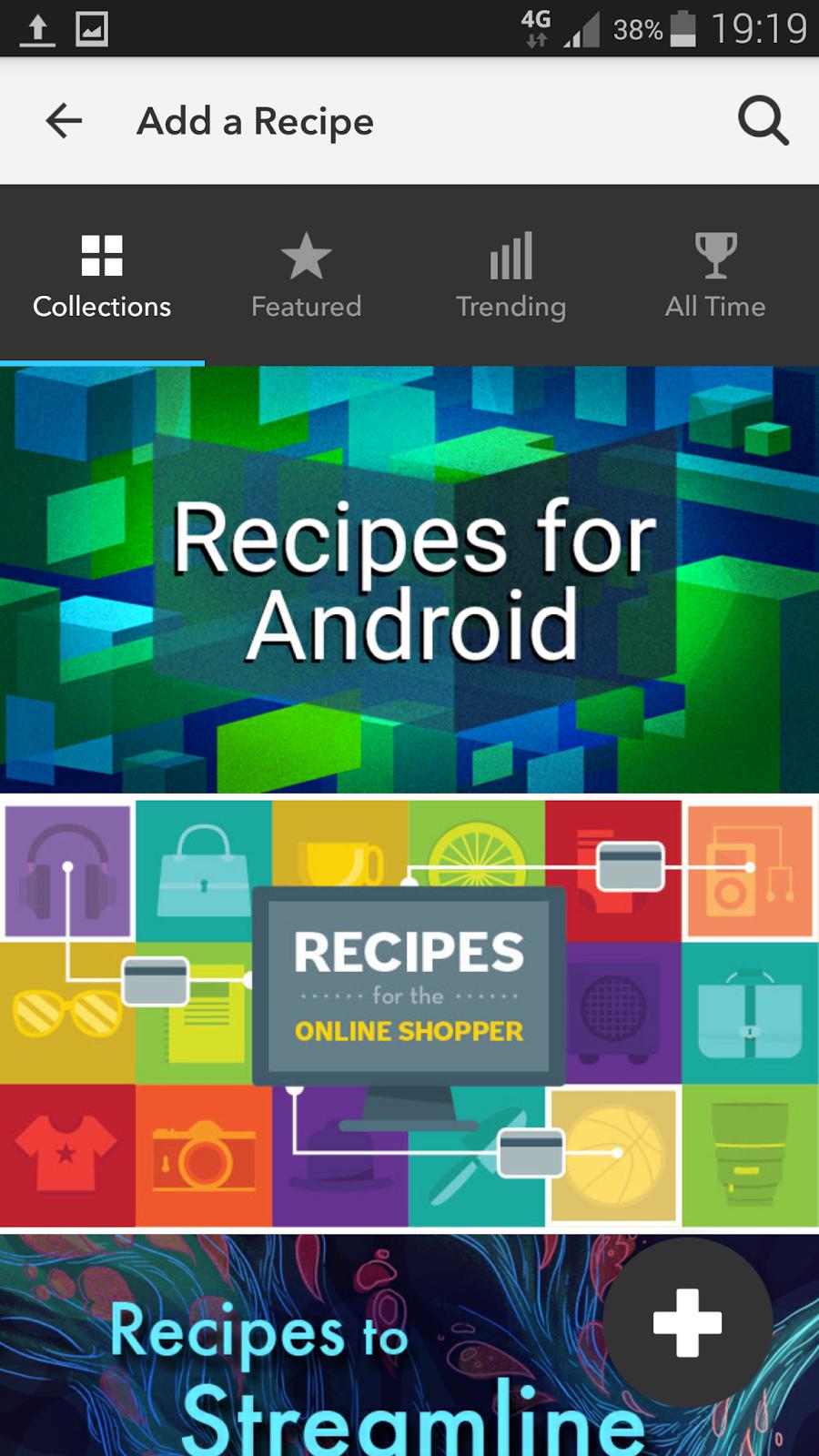 schermata di navigazione fra le ricette condivise