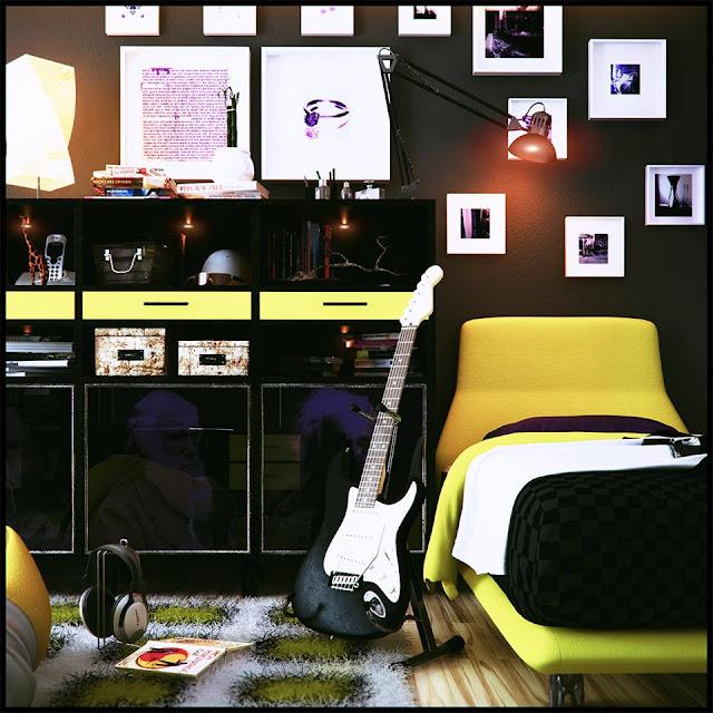 DORMITORIO PARA JOVENCITO EN NEGRO Y AMARILLO by dormitorios.blogspot.com