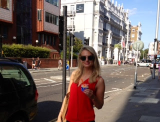 red blouse, red shirt, ice cream, oddonos, oddonos london, sunglasses, miu miu, miu miu sunglasses