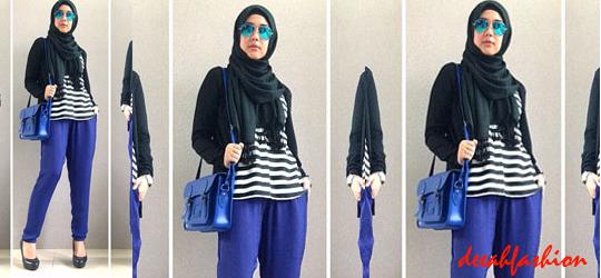 Navy Stripes Baju Muslim Modis Hari Ini