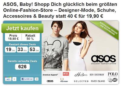 DailyDeal: 40€-Asos-Gutschein zum Preis von 19,90€ (auch auf reduzierte Ware anwendbar!)