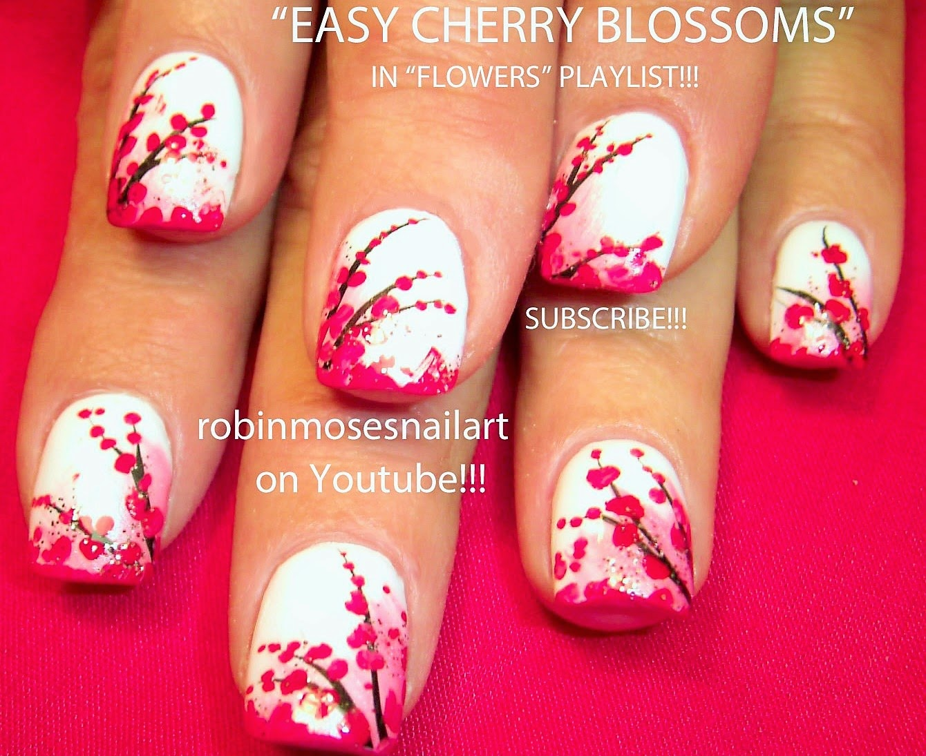 Robin moses nail art cherry blossom nail art nails spring flower nail art playlist easy nail art tutorials floral nails design ideas for beginners to advanced nail techs prinsesfo Gallery