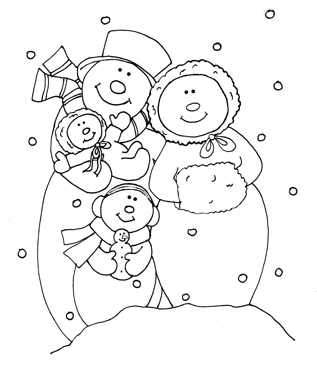 snowman family coloring pages - free dearie dolls digi stamps snowman family