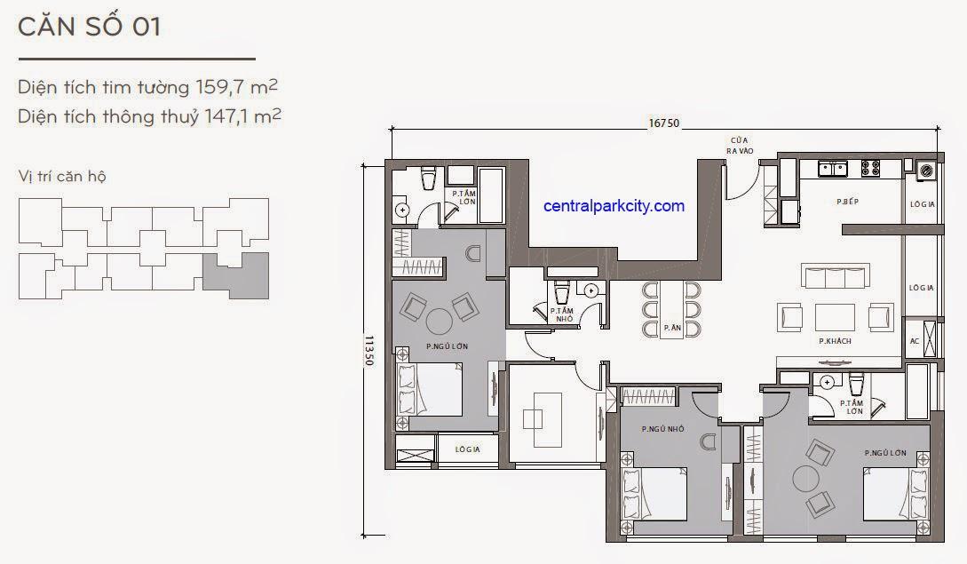 Căn hộ Landmark 1 - kiểu nhà số 01 - 159.7m2 - 4PN