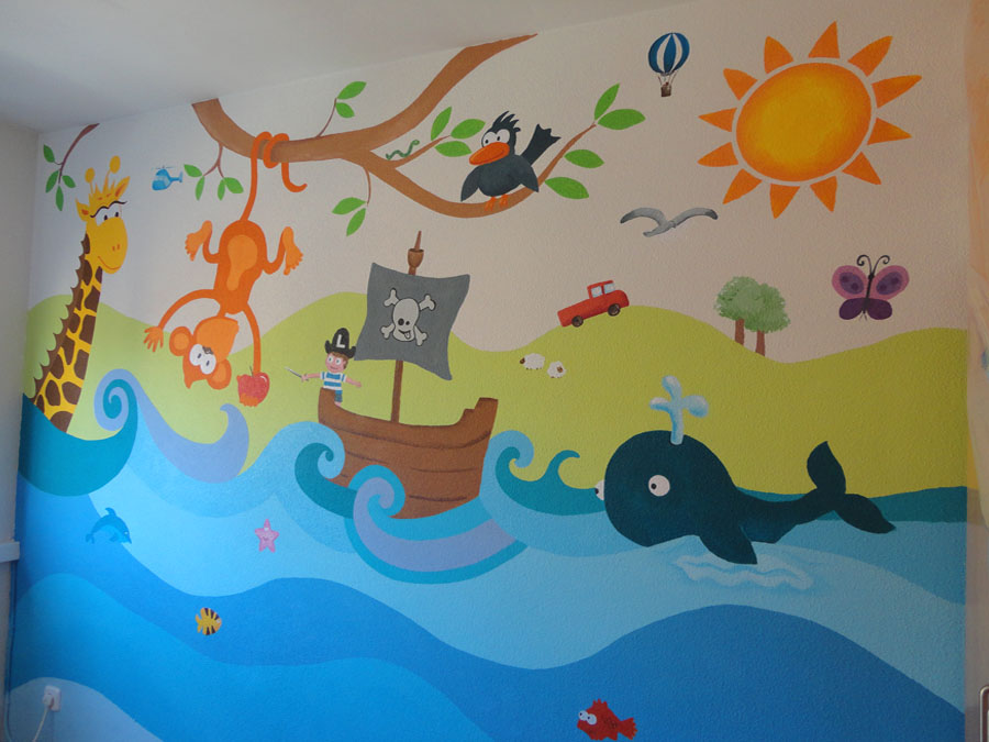 Decopared murales infantiles for Murales pintados a mano