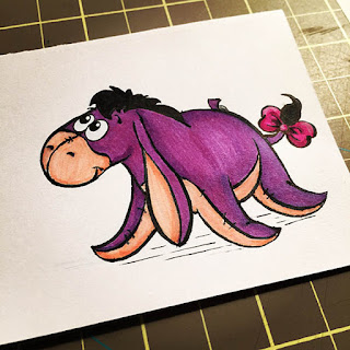 Ink and marker drawing of a cute and happy purple Eeyore for a lunchbox note