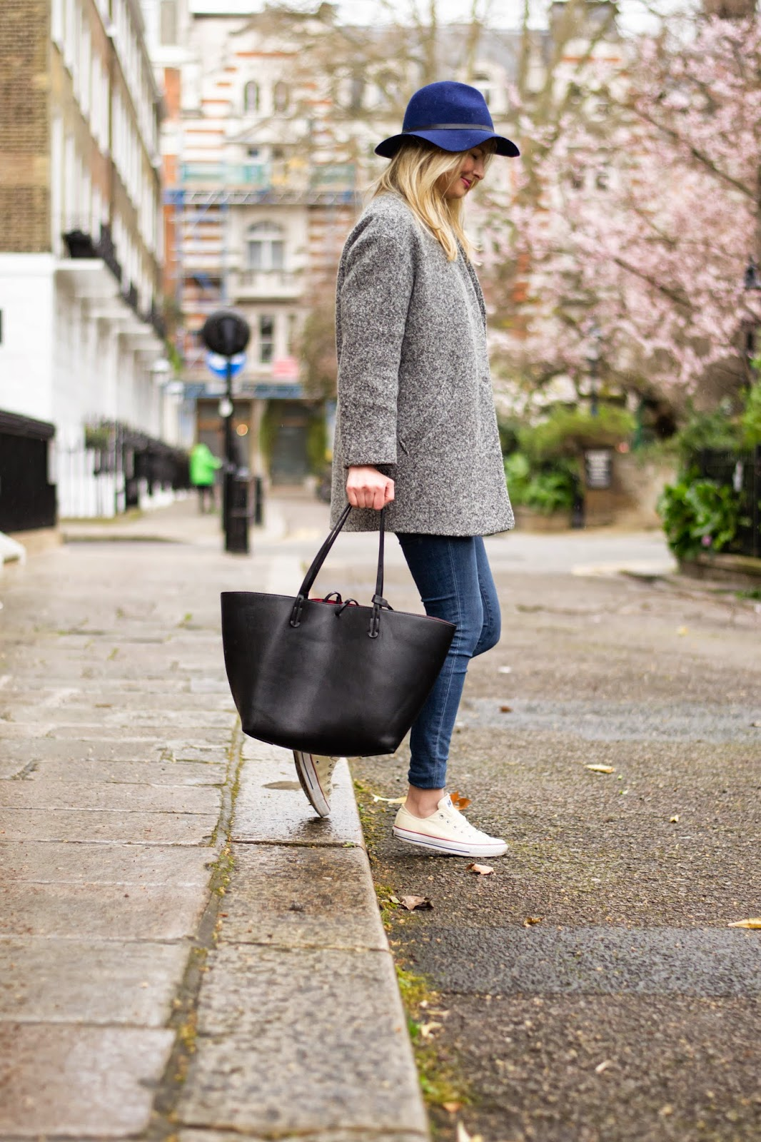 Cobalt blue hat, topshop fedora hat, zara bag, zara reversable bag, mansur gavriel dupe bag, j brand jeans, converse and skinny jeans, iro paris coat, grey coat, london blogger, london street style