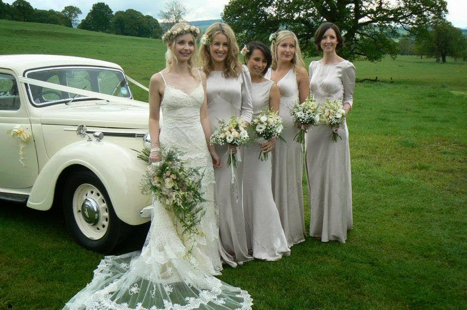 Bridesmaids at Heathy Lea with floral designs by Campbell's Flowers in Sheffield.