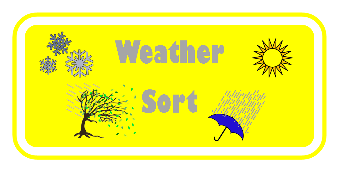 Different weather picture card into the correct category weather sort