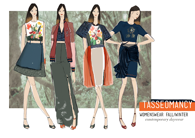 Fashion illustration board, Tasseomancy contemporary daywear.