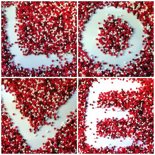 love spelled out in red and white