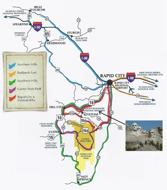 mapa alrededores de rapid city, mapa monte rushmore, mapa black hills