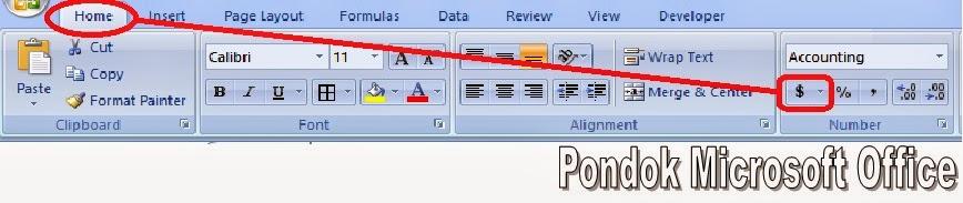 cara dengan ikon accounting format