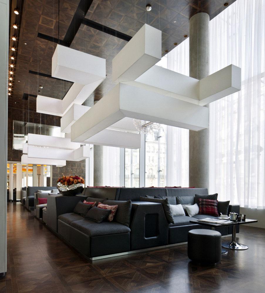 w hotel london interior, leicester square /concrete