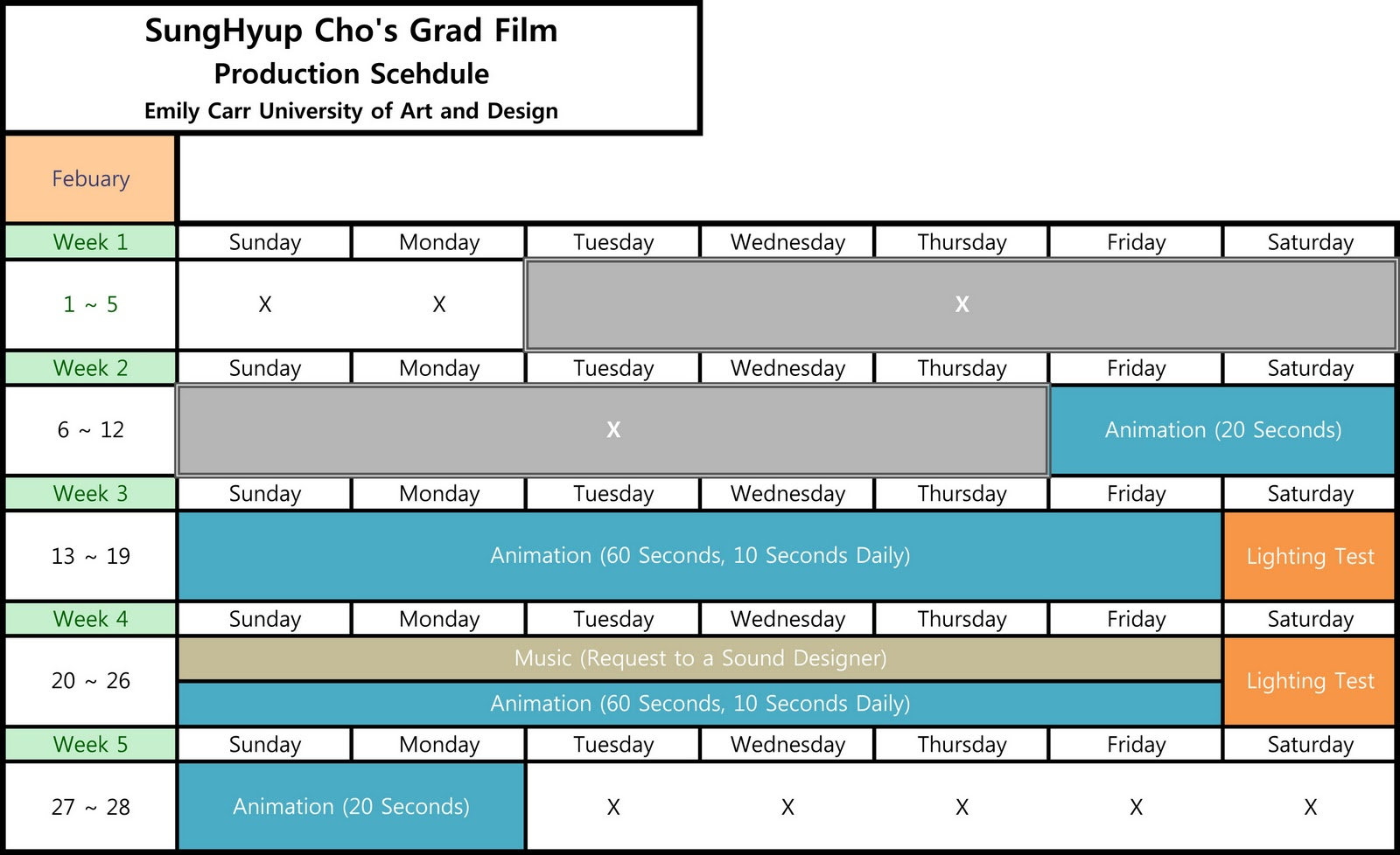 production schedule template .
