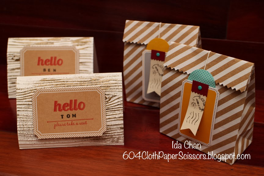 Place cards and party favor bags by Ida Chan #StampinUp #PartyPartyBundle