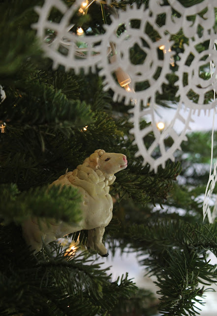 Christmas, holiday, tree, snowflakes, decorations, decor, noel, animal, navidad, winter, lights, sparkle, ornament, paper, small, tiny, sheep, figures, Christmastime, Weihnachten, interior, decor, art, handmade, joy, happiness, ornate, beautiful, handiwork, charm, photography, Sarah Myers, glass, fir, live, lamb