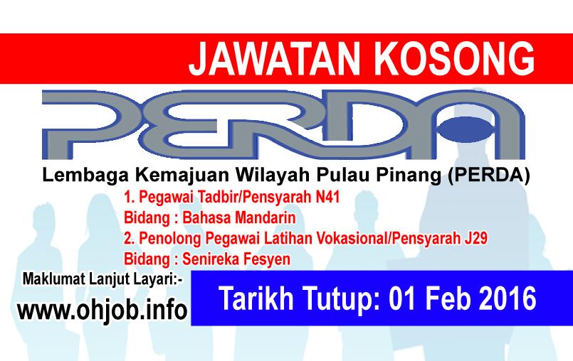 Jawatan Kerja Kosong Lembaga Kemajuan Wilayah Pulau Pinang (PERDA) logo www.ohjob.info februari 2016