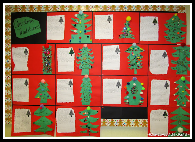 photo of: Christmas Traditions Writing Bulletin Board (RoundUP of Christmas Bulletin Boards via RainbowsWithinReach)