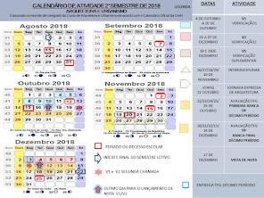 SEGUNDO SEMESTRE DE 2018 -CALENDÁRIO ARQUITETUTRA E URBANISMO - AVALIAÇÕES E PROGRAMAÇÃO-2018/2