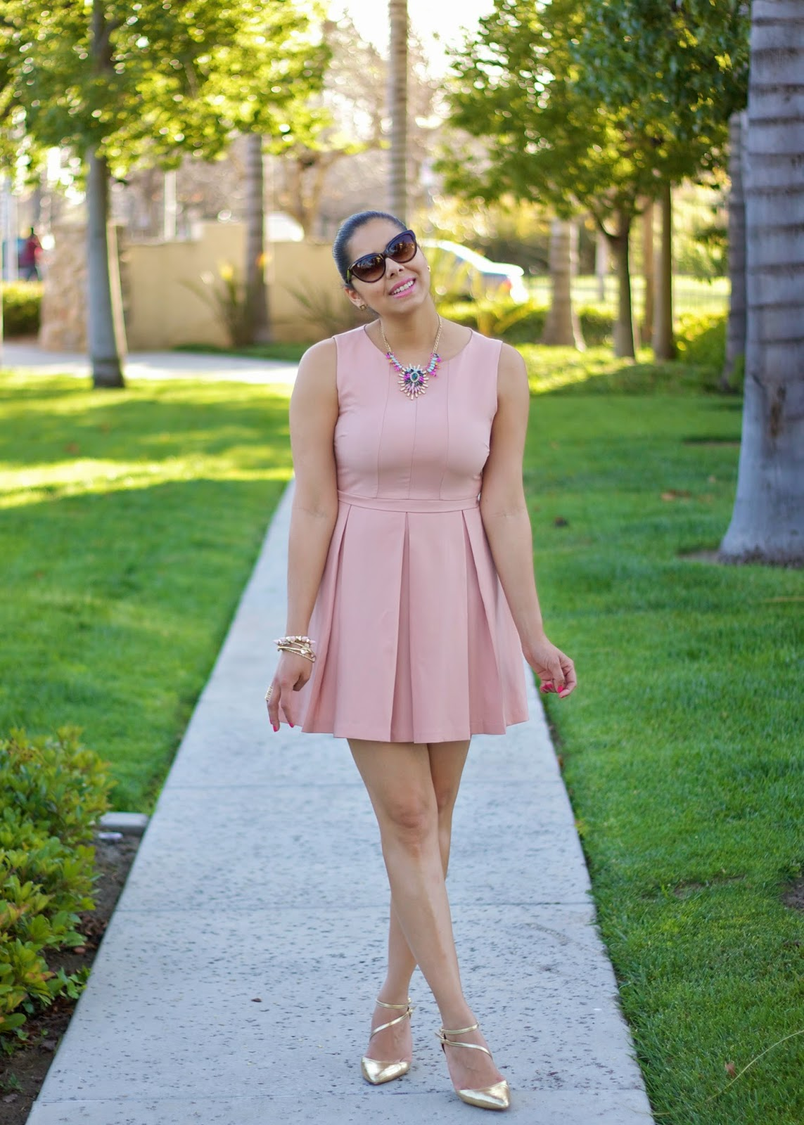 Luxurious Ballerina, Ballerina Outfit, Pale Pink fit and flare dress, ASOS gold strap shoes