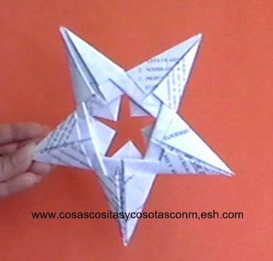 Como hacer una estrella colgante cositasconmesh - Origami de una estrella ...