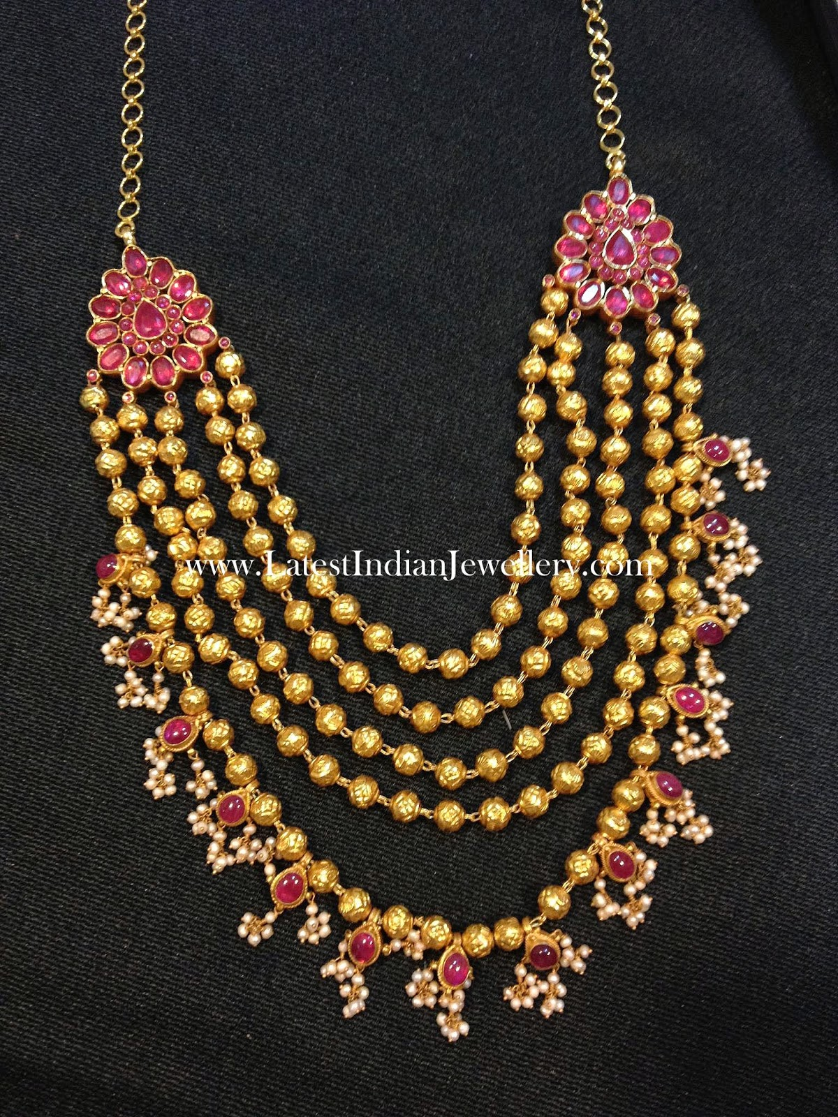 Gold Balls Multi Stringed Necklace