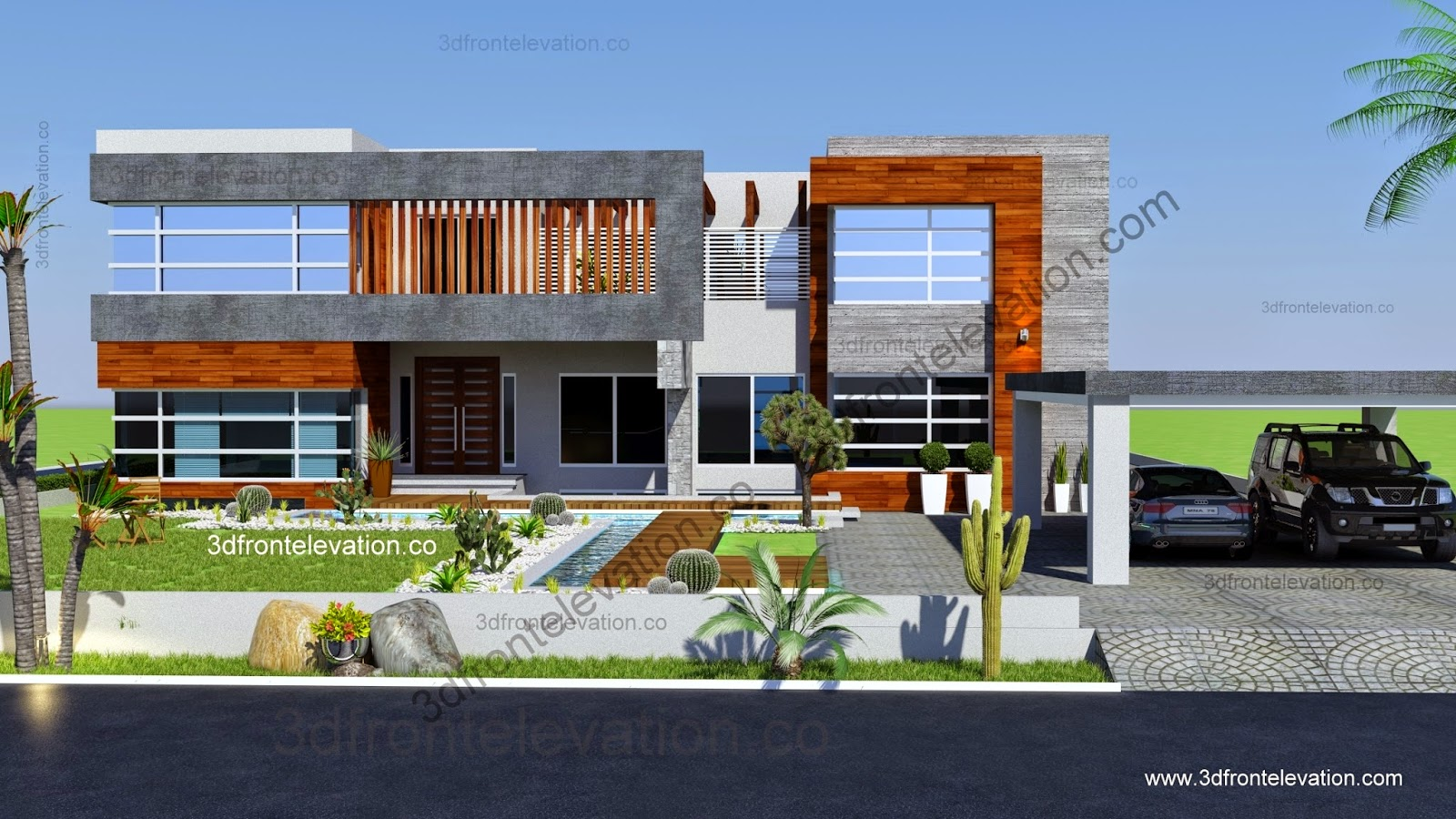 3d front new beautiful 2 kanal house plan for 3d elevation house plan
