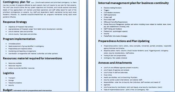business contingency plan template – It Contingency Plan Example