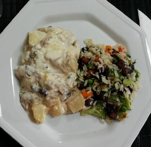 El piquito de oro bacalao con arroz y crema griega - Arroz blanco con bacalao ...