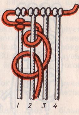 Плетение вертикальной бриды в макраме.
