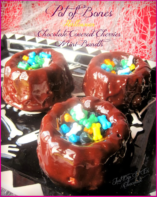 Pot of Bones Halloween Chocolate Covered Cherries Mini Bundt Cakes Recipe, Halloween is the sweetest holiday around, lets make it even sweeter with these chocolate covered cherry bundt with the extra added bonus of sweet Bones,,,after all it is Halloween! #Halloween, #Halloweendesserts #Halloweencakes #Halloweenchocolate #bones