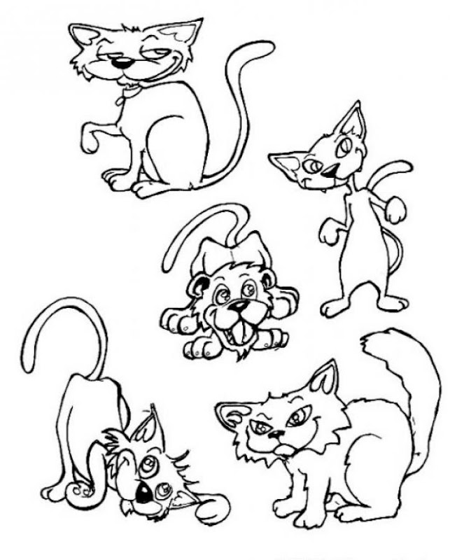 Cute Cats and Dogs Coloring Pages For Print title=