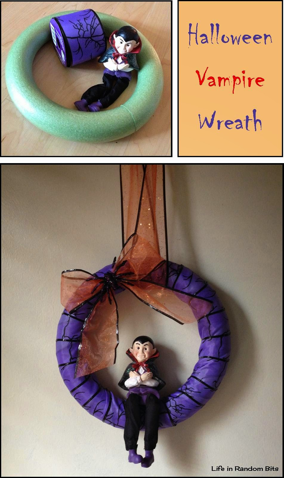 DIY Vampire wreath ~ Life in Random Bits #halloween #vampire #decorations #diy