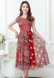 2017 Red Patchwork Chiffon Chiffon Dress