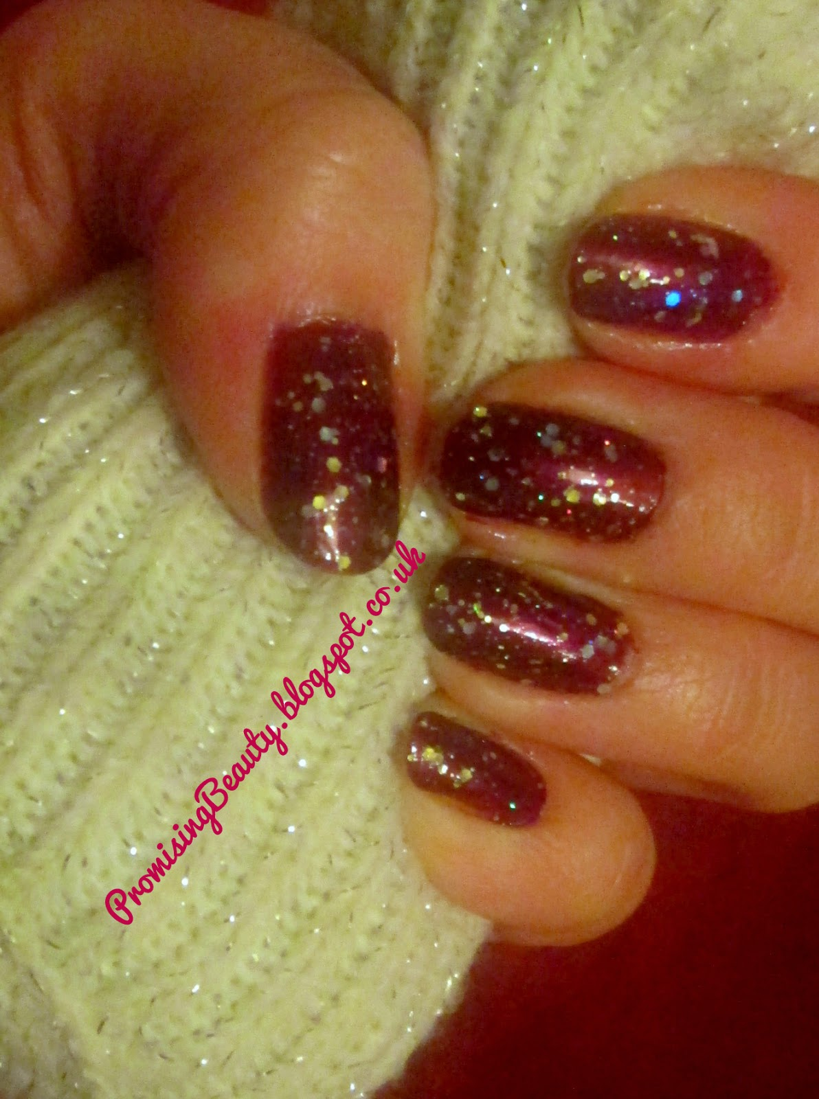 Autumn nail polish, burgundy oxblood nails with gold glitter, Barry M