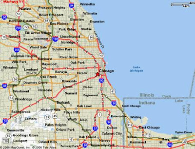 Chicago map showing roads