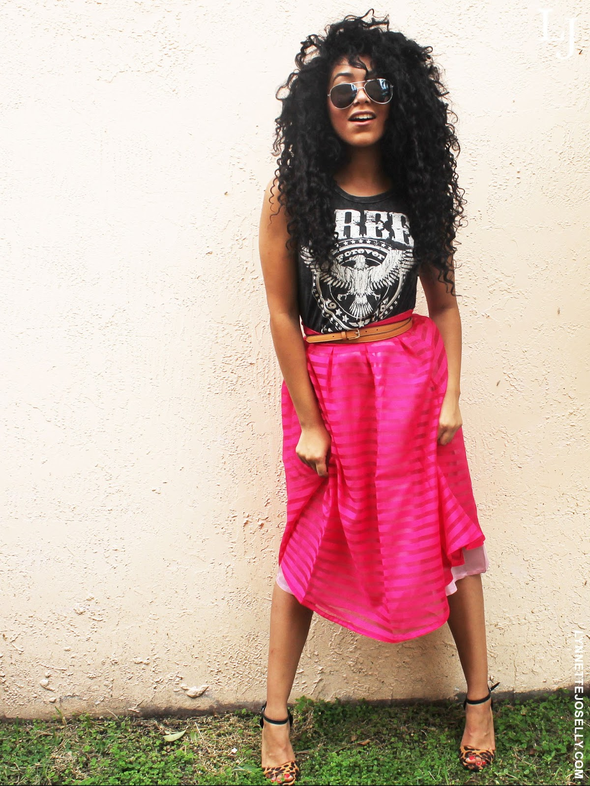 pink-tea-length-skirt-outfit