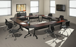 Box Shaped Training Room Tables Configuration